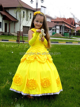 2016 New Arrival Quality Halloween Costumes Beauty And The Beast Cosplay Belle Costume Yellow For Children