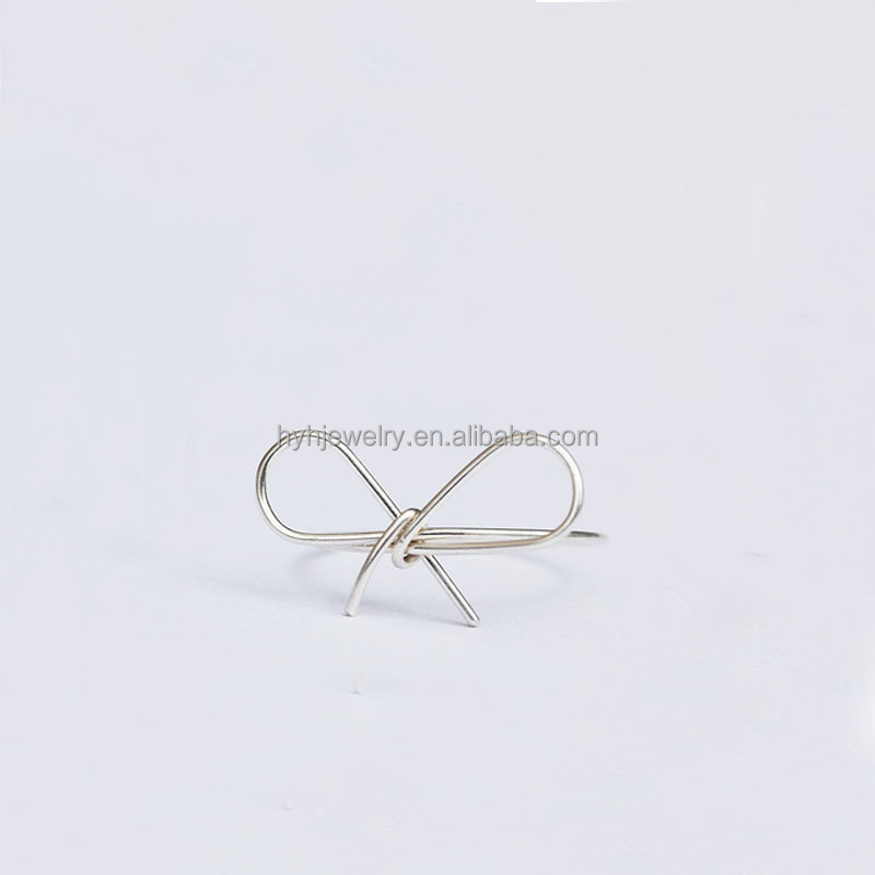 Hot selling beautiful woman jewelry trendy 2017 925 silver handmade finger ring thin band bow knot rings