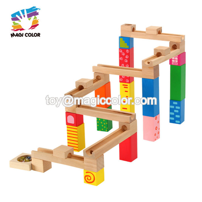 2019 New arrival 33 PCS educational wooden marble run set toy for kids W04E084