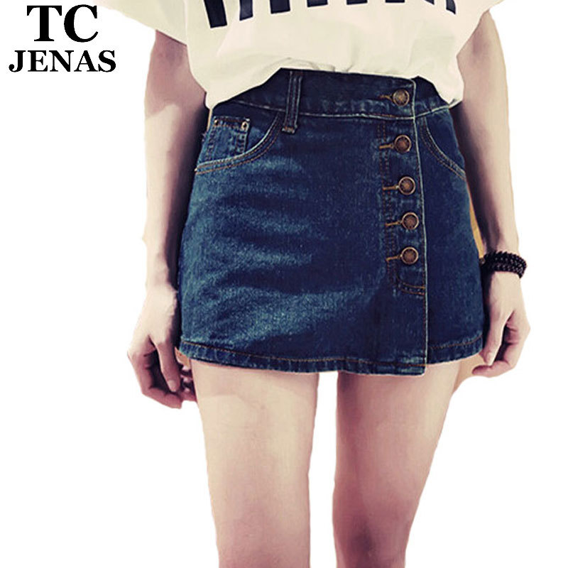3e7e9243ca2 Get Quotations · TC Women Denim Short Skirts 2015 Summer Sexy Casual Buttons  Solid High Waist Jeans Mini Short