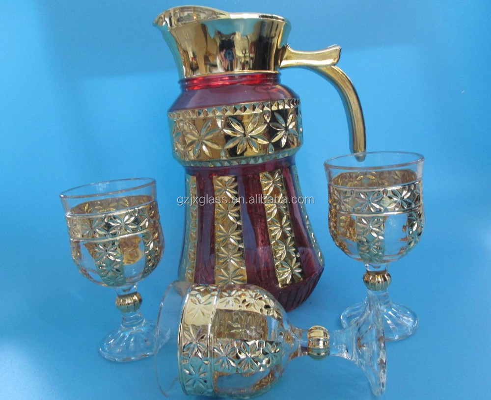 The Latest Arabic Style Drinkware 7Pcs Crystal Golden Glass Jug Set Glassware