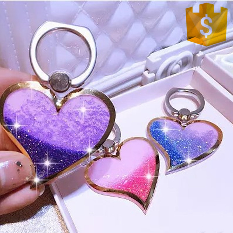 Heart-shaped Liquid Quicksand 360 Degree Finger Ring Mobile Phone Stand Holder Love Design Glitter Bling phone stand