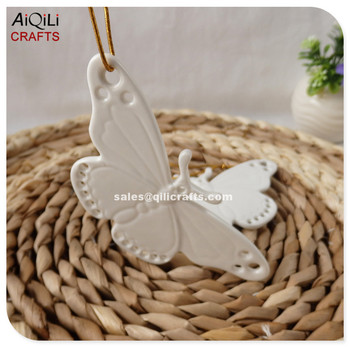 white beautiful butterfly hanging ceramic christmas ornaments - Ceramic Christmas Ornaments