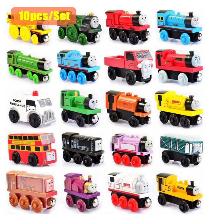 10pcs lot Wooden Magnetic Thomas Train Figure Toys Children s Educational Toys Thomas Train Send in