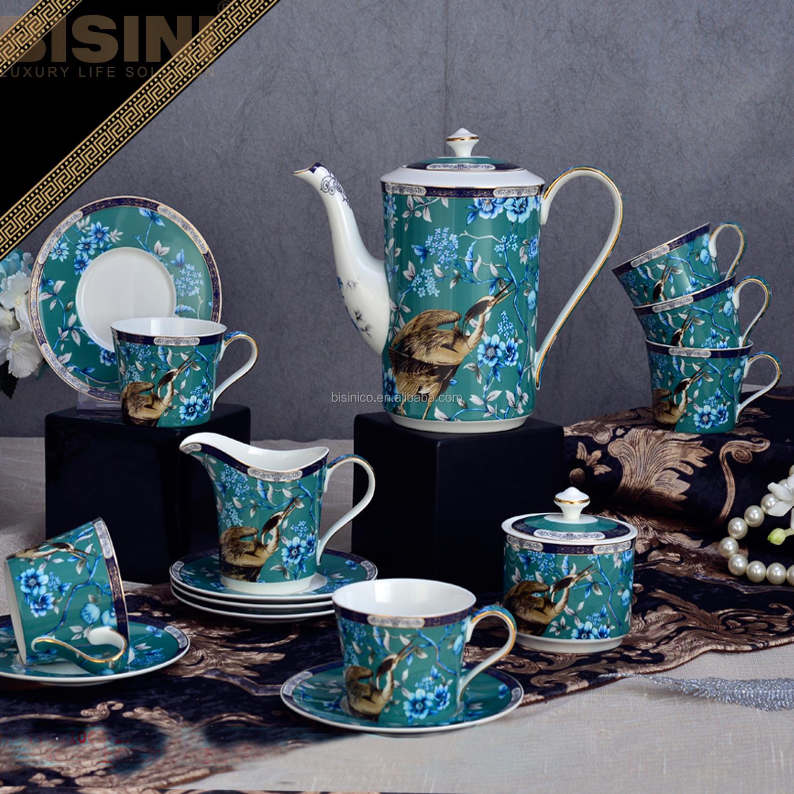 Porcelain Tea Sets Vintage Ceramic Colored Glaze Drinkware With Birds And Flowers Porcelain Tea Cup Set For Home And Office Use Buy Tea Cups Fine Porcelain Bone China Tea Set Ceramic Large Tea