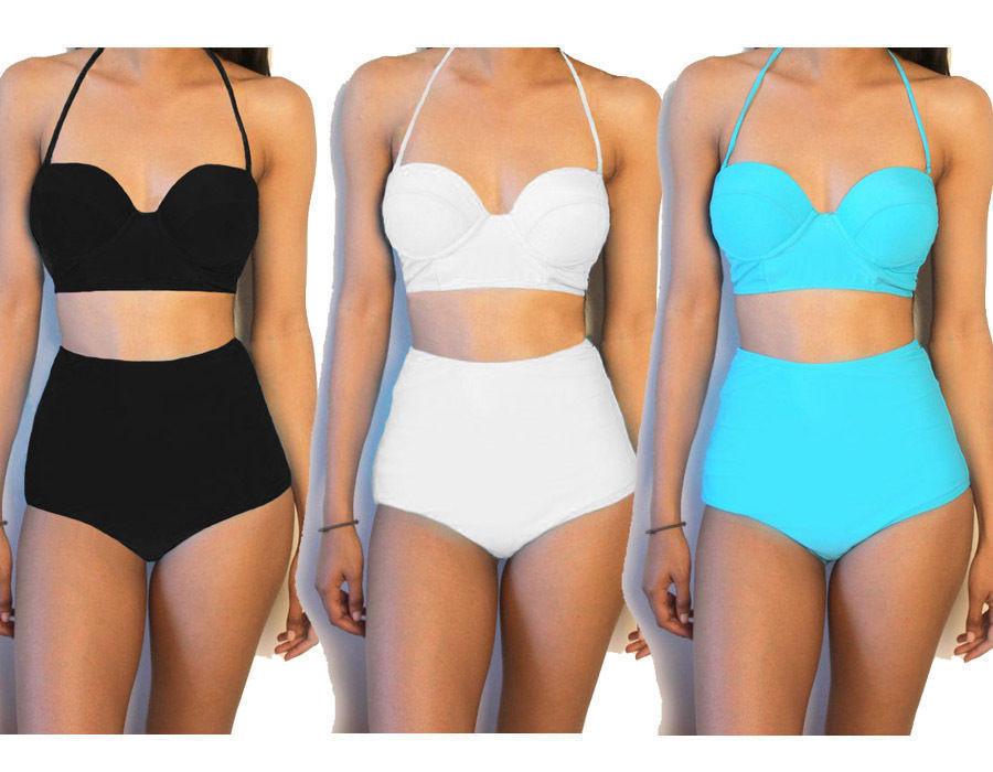 2cb29dc283 Women's Vintage High Waisted Bikini Set Neon Color Swimwear Swimsuit 6 - 16