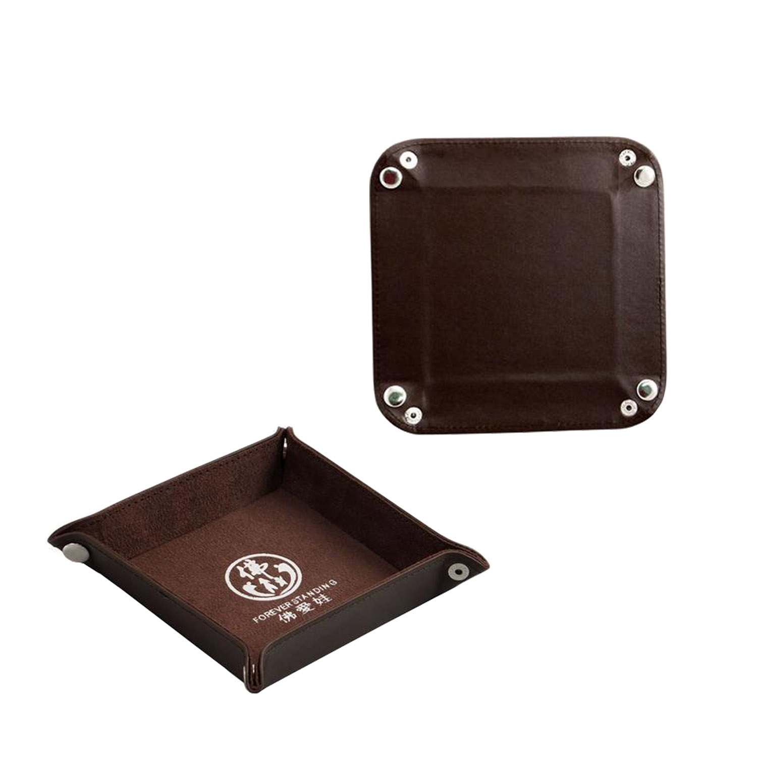 Hot selling office leather desktop coin storage tray with snap