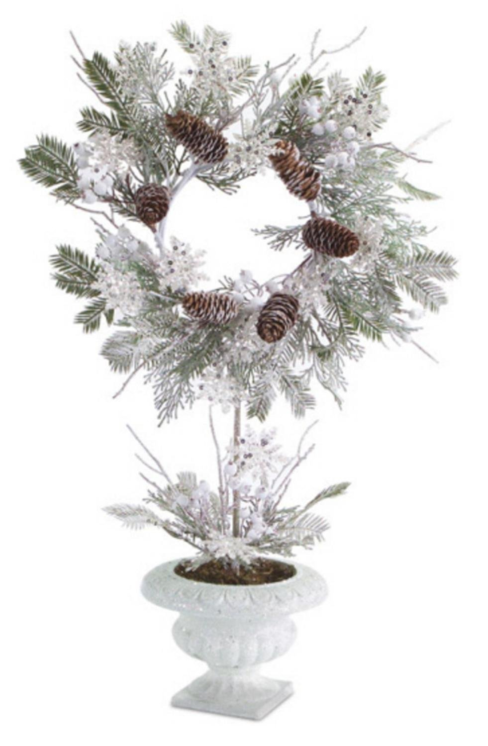 """2 Artificial Potted Christmas Pine Wreaths with Snowflakes and Pine Cones 28"""""""