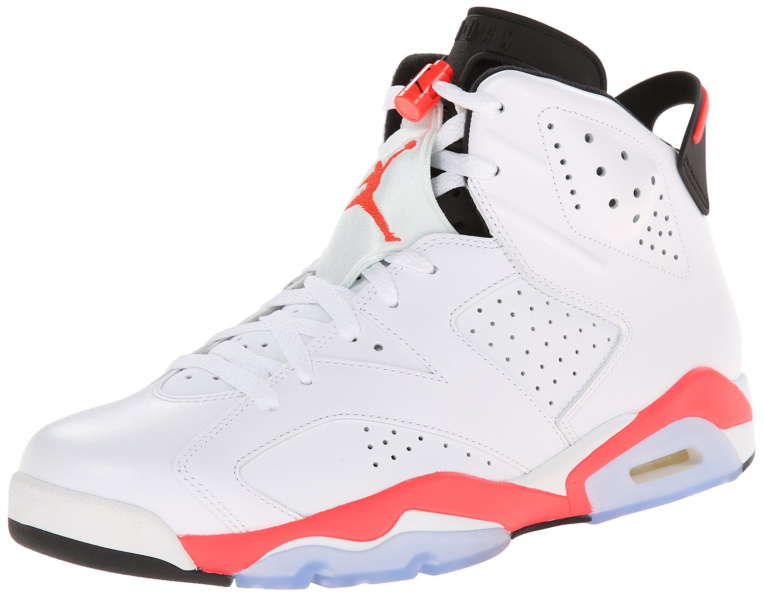 Nike Mens Air Jordan 6 Retro White/Infrared-Black Leather Basketball Shoes Size 13