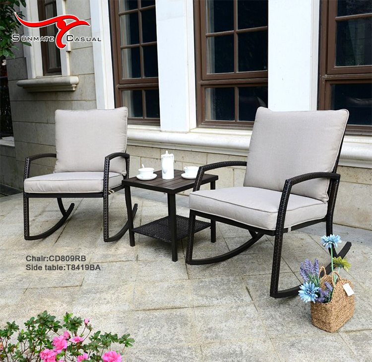 Outdoor Leisure Balcony Patio Rattan Wicker Rocking Chair Set With Coffee Table