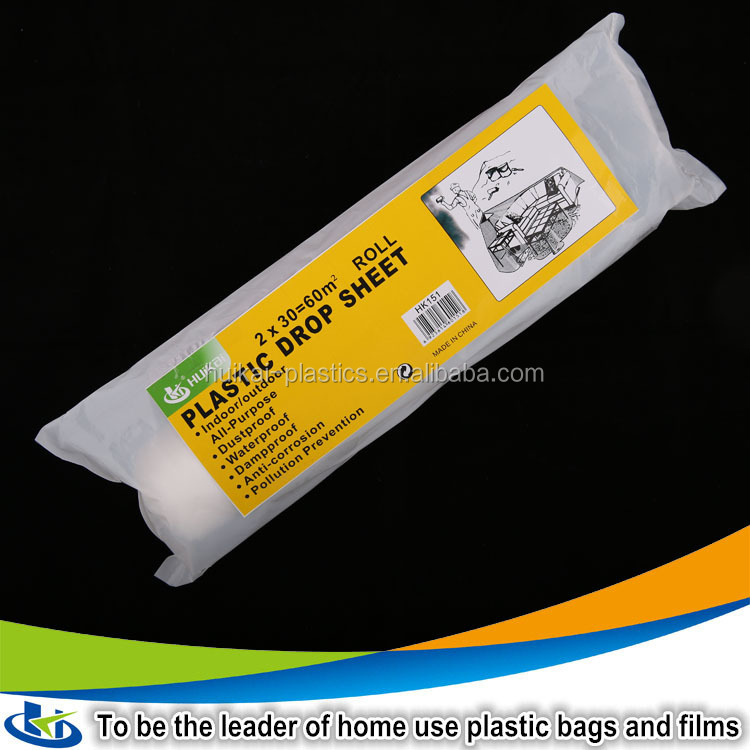 Walmart wholesale ldpe plastic painter drop cloth plastic drop sheets on roll