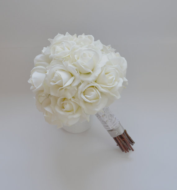 Simple Flower Bouquets For Weddings: Real Touch Flower White Rose Simple Wedding Bouquets White