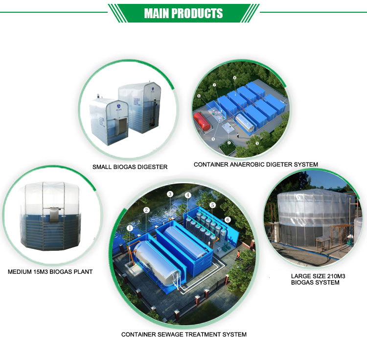 Cow Chicken Pig Farm Use 15m3 Portable Assembled Waste Treatment Biogas Plant
