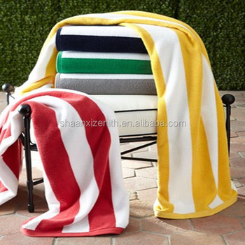 Custom 34x63 inches yellow and white cabana stripe beach towels cotton