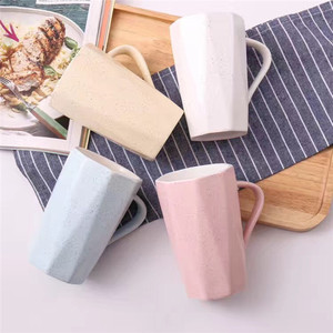 Ceramic Mugs Handle Insert Milk Tea Water Cup with Spoon 41106