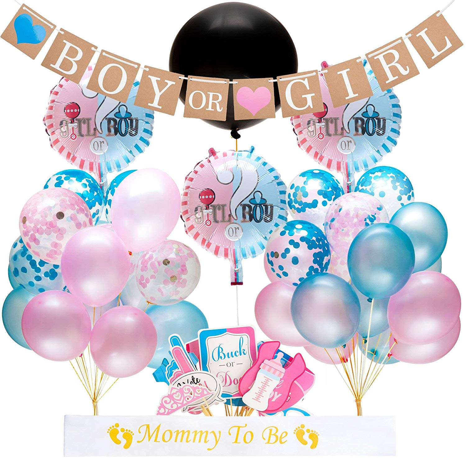 "Gender Reveal Party Supplies and Baby Shower Boy or Girl Kit (64 Pieces) - Including 36"" Reveal Balloon, Confetti Balloons, Banner, Photo Props and More - All You Need to Celebrate Your Little One"