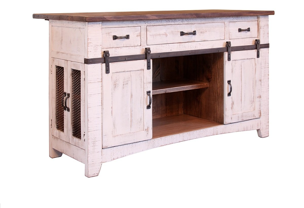 Anton Farmhouse Solid Wood Distressed White Sliding Barn Door Kitchen Island With Storage And Rolling Casters
