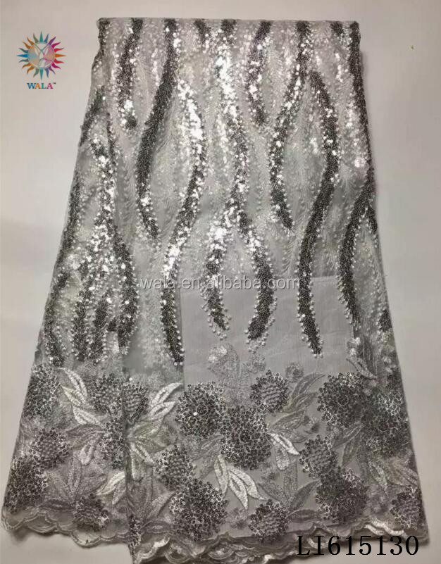LI615130- (1) African style embroidered tulle lace with shine sequins nigerian French net lace fabric for wedding