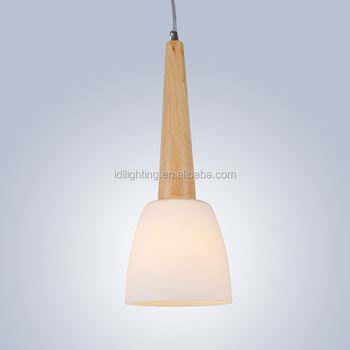 Single Light Frosted Glass Pendant Light Wooden Hanging