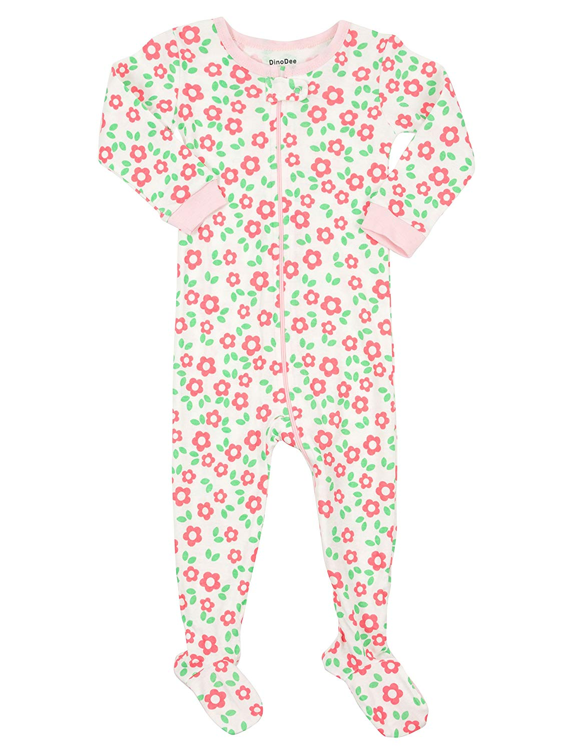 Get Quotations · DinoDee Baby Girls Footed Pajamas Sleeper 100% Cotton Kids  Pjs (6 Months-5 6f0ba4078
