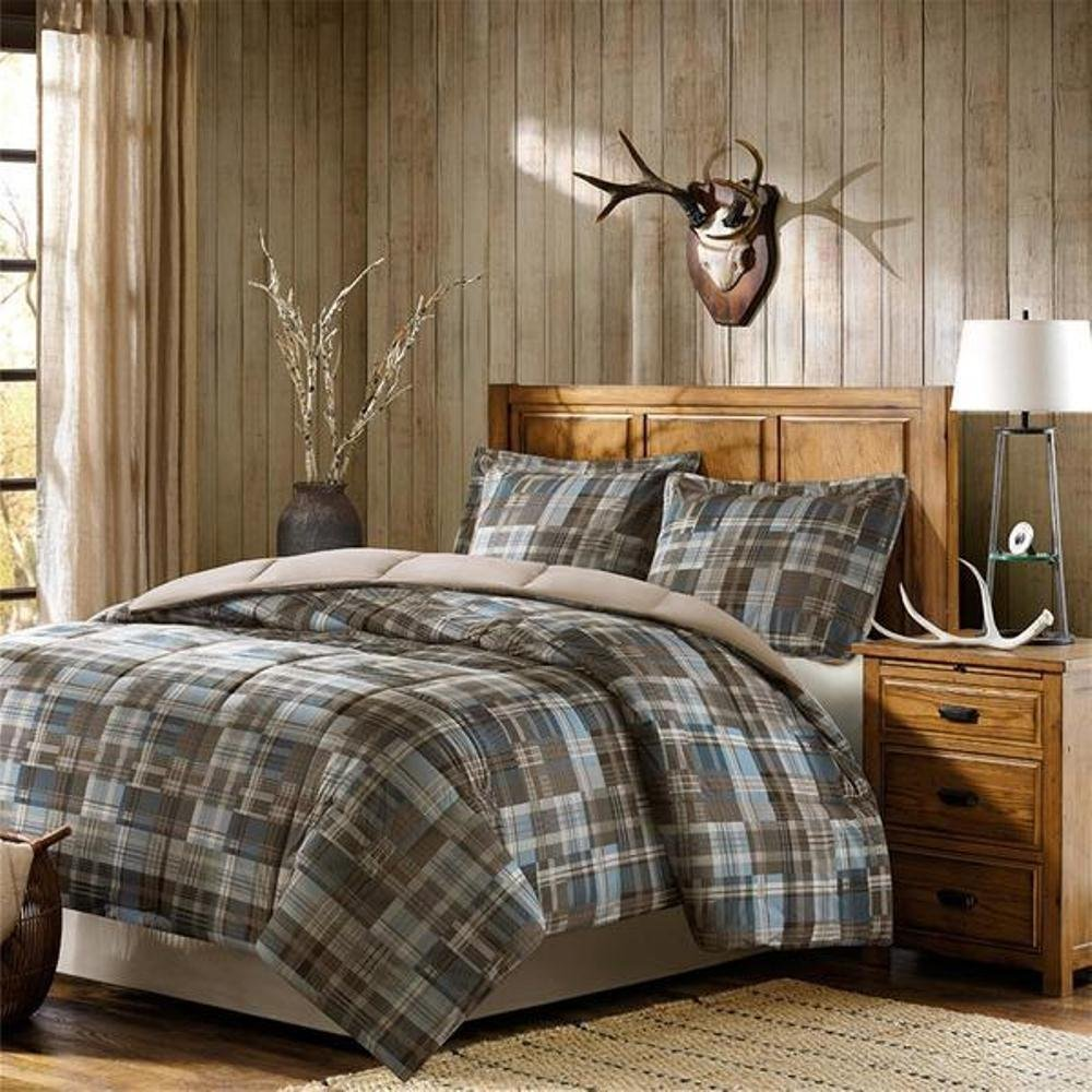 3pc Brown Blue Madras Plaid Comforter King Set, Glen Checkered Bedding, Tartan Check Lodge Cabin Themed, Dark Grey Beige Tan Teal Turquoise Gray, Warm Country Woven Pattern