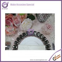 18117 clear glass decorative glass plates with big black rhinestone circle