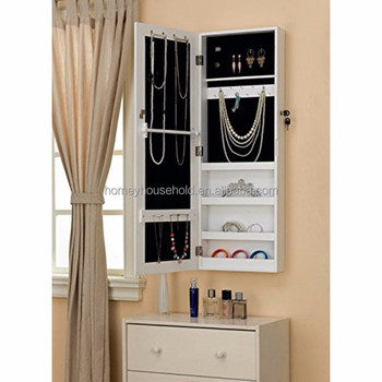 White Wood Wall Mounted Jewelry Cabinet Armoire Cosmetic Organizer With  Makeup Mirror E92