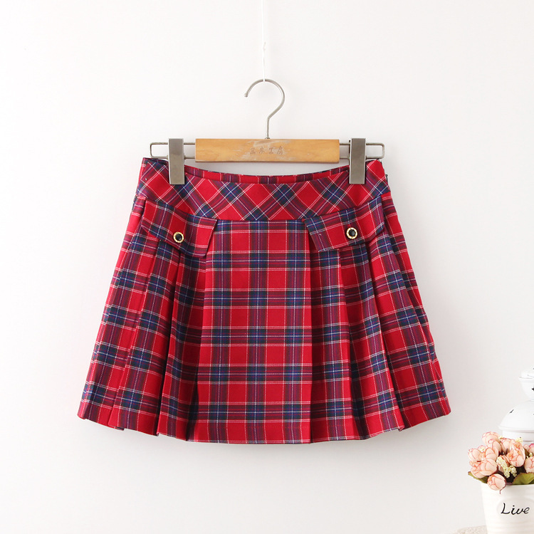 1f3e2d290778 Get Quotations · 2015 Summer Style New A-line Skirt Mori Girl Plaid Lovely Women  Skirt Solid Color