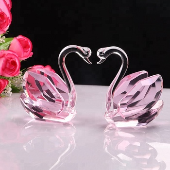 Antique Crystal Glass Kissing Swans Centerpieces For Car