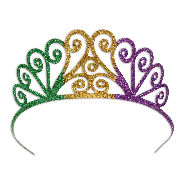 Beistle Glittered Metal Mardi Gras Tiara, Green/Gold/Purple