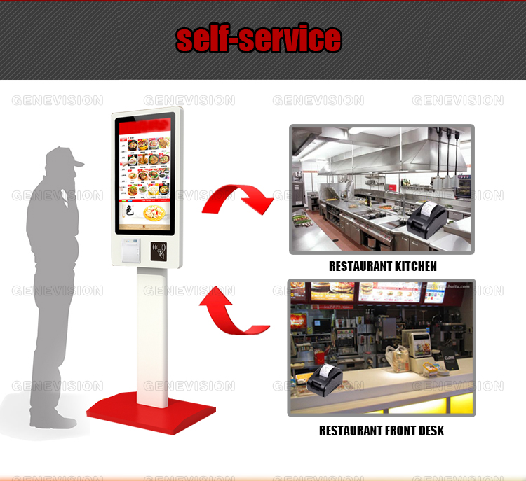 MCD/KFC touch screen self service Android bill acceptor payment kiosk food ordering machine with terminal printer,scanner