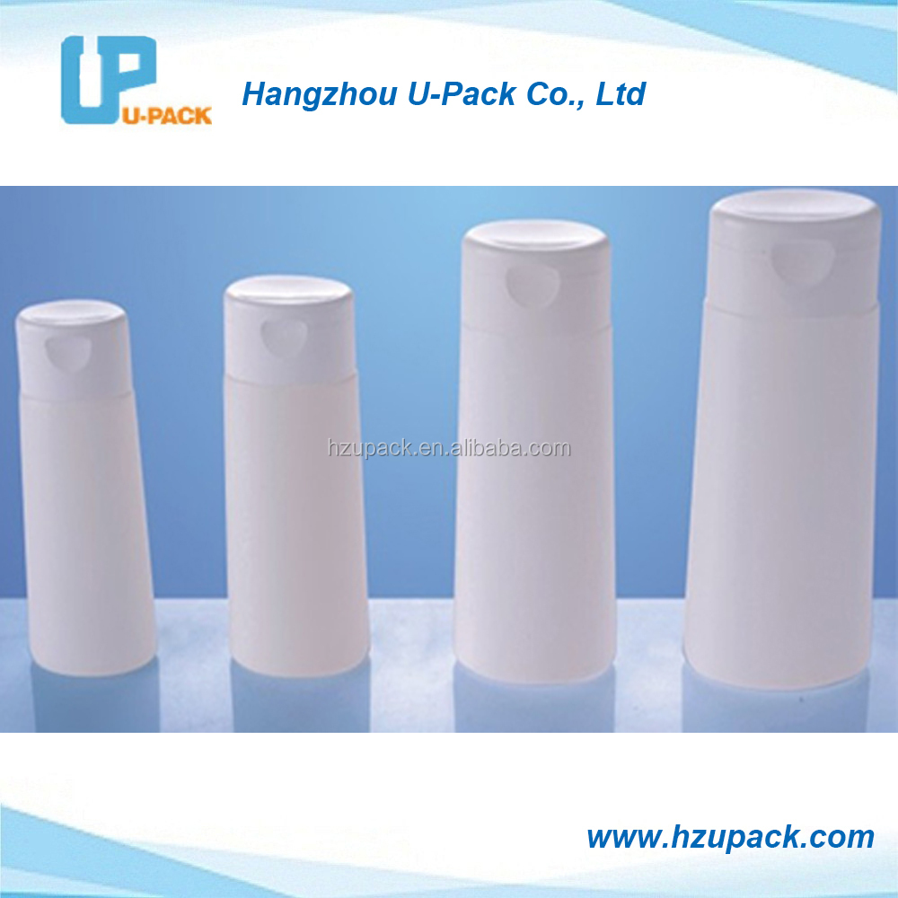 60ml, 100ml, 150ml and 200ml Shampoo conditioner plastic PE bottles with flip top cap