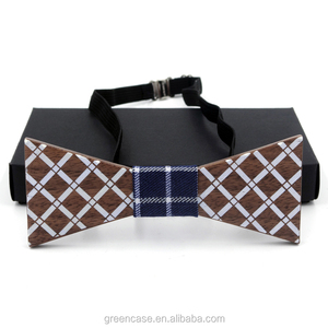 Handmade Stylish Printing Design Custom Wooden Bowtie for Wedding for Party