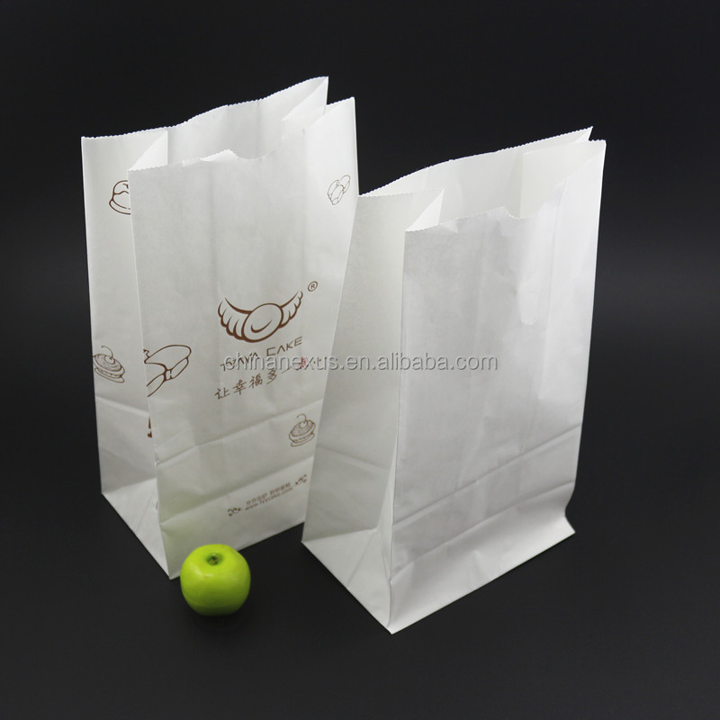 Eco-friendly 30cm height white kraft paper packing bag for coffee and food