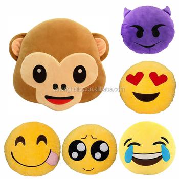 Smiley Face Emoji Pillows Soft Plush Emoticon Monkey Cushion Home