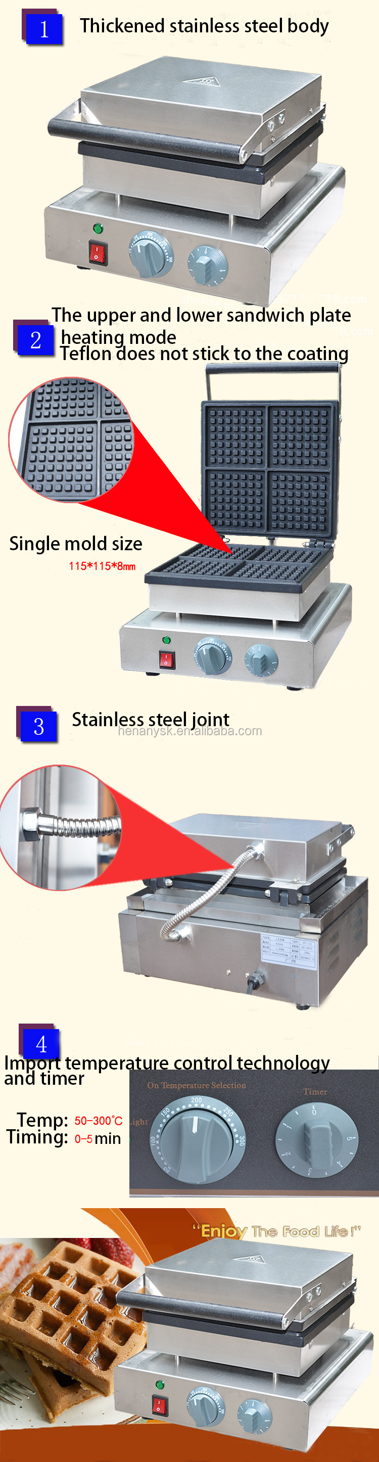 Commercial Stainless Steel Electric Pattern Cake Grill Waffle Maker Waffle Making Machine