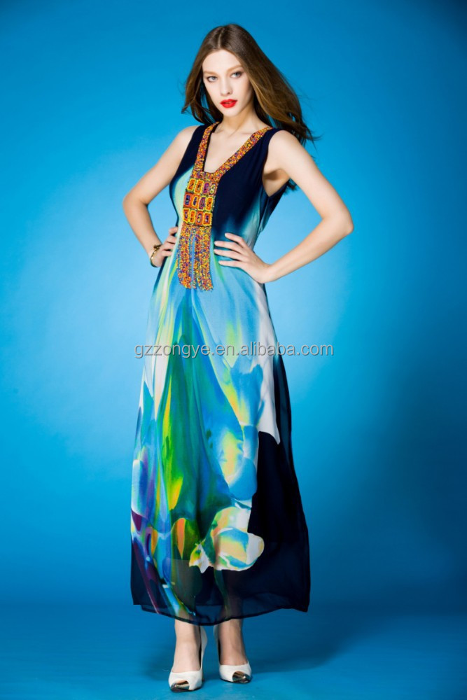 printed Maxi Dresss Clothing chiffon Dress sleeveless casual dress long vintage India free prom dress clothing in gz