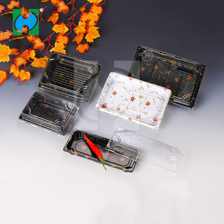 Factory Price Food Grade Disposable Sushi Plastic Container With Clear Lid Sushi Tray