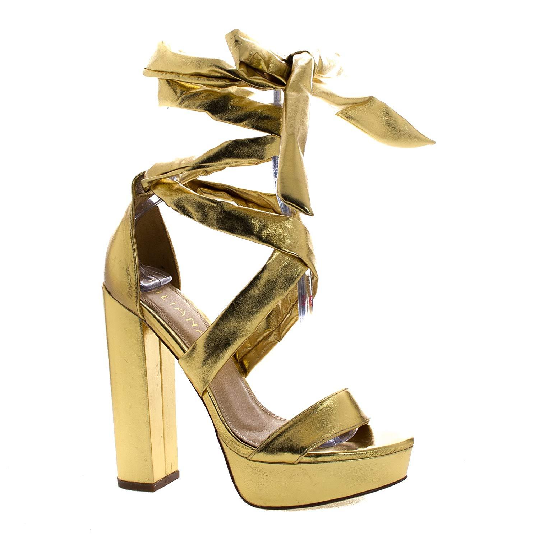 9a6e74ec828 Get Quotations · Liliana Thick Leg Wrap Crisscross Chunky Block Heel  Platform Sandal