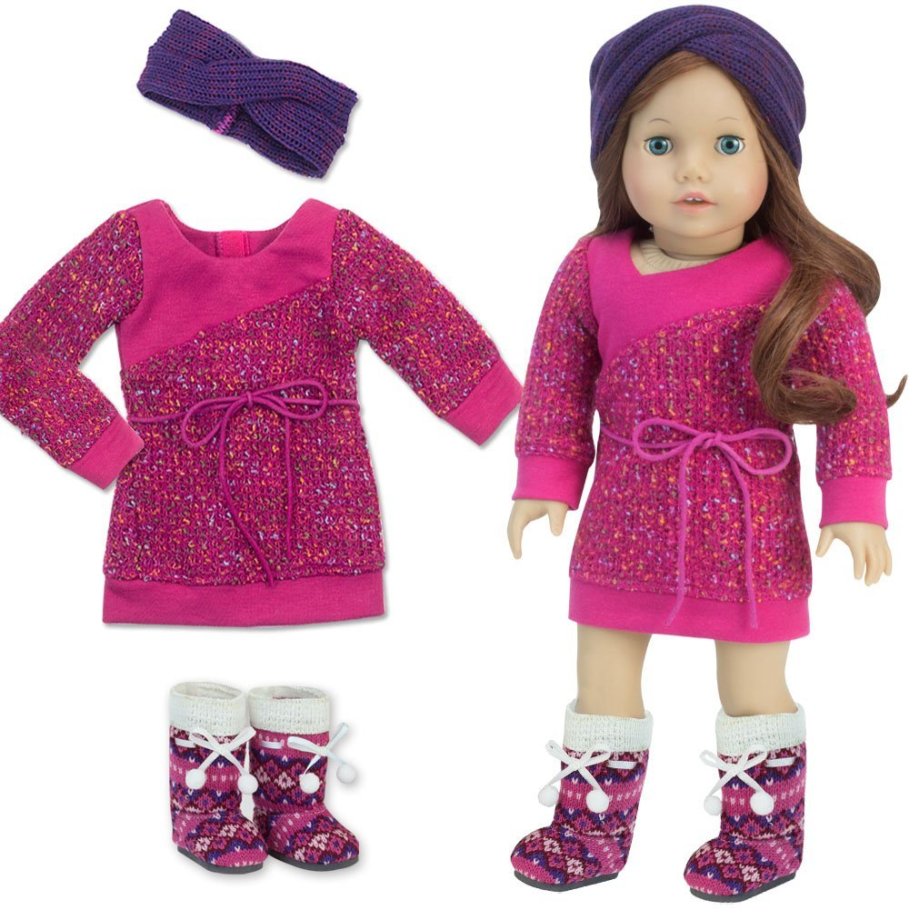 Hot Pink Knit Sweater Dress Set with Accessories for 18 Inch Dolls by Sophia's
