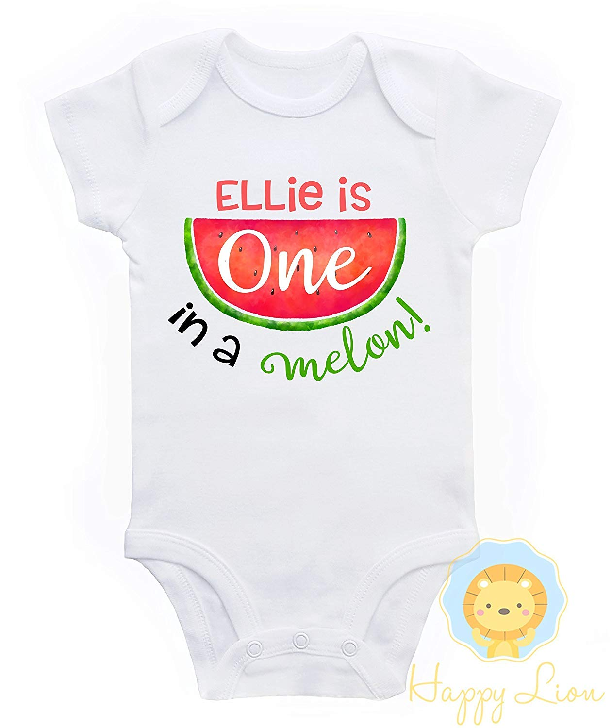 833c28252 Get Quotations · Happy Lion Clothing - Watermelon 1st Birthday Onesie  bodysuit for Baby Girl, One in a