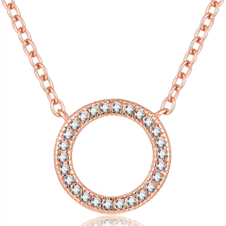 Durable 925 Sterling <strong>Silver</strong> Rose Gold Plated Fashion Circle Necklace For Pandora Style