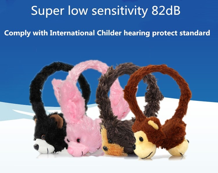 2018 wholesale animal soft plush bear headset children custom earphones mini headphone