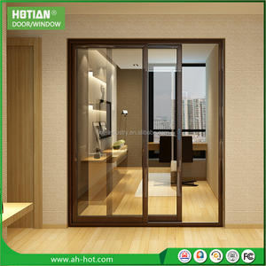 HOTIAN windows bulletproof glazed aluminum french casement window door ,weather strip window doors