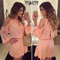 2016 New Style Summer Pink Dress Sexy Off Shoulder Long Sleeve Tunic Women Chiffon Dress Russion