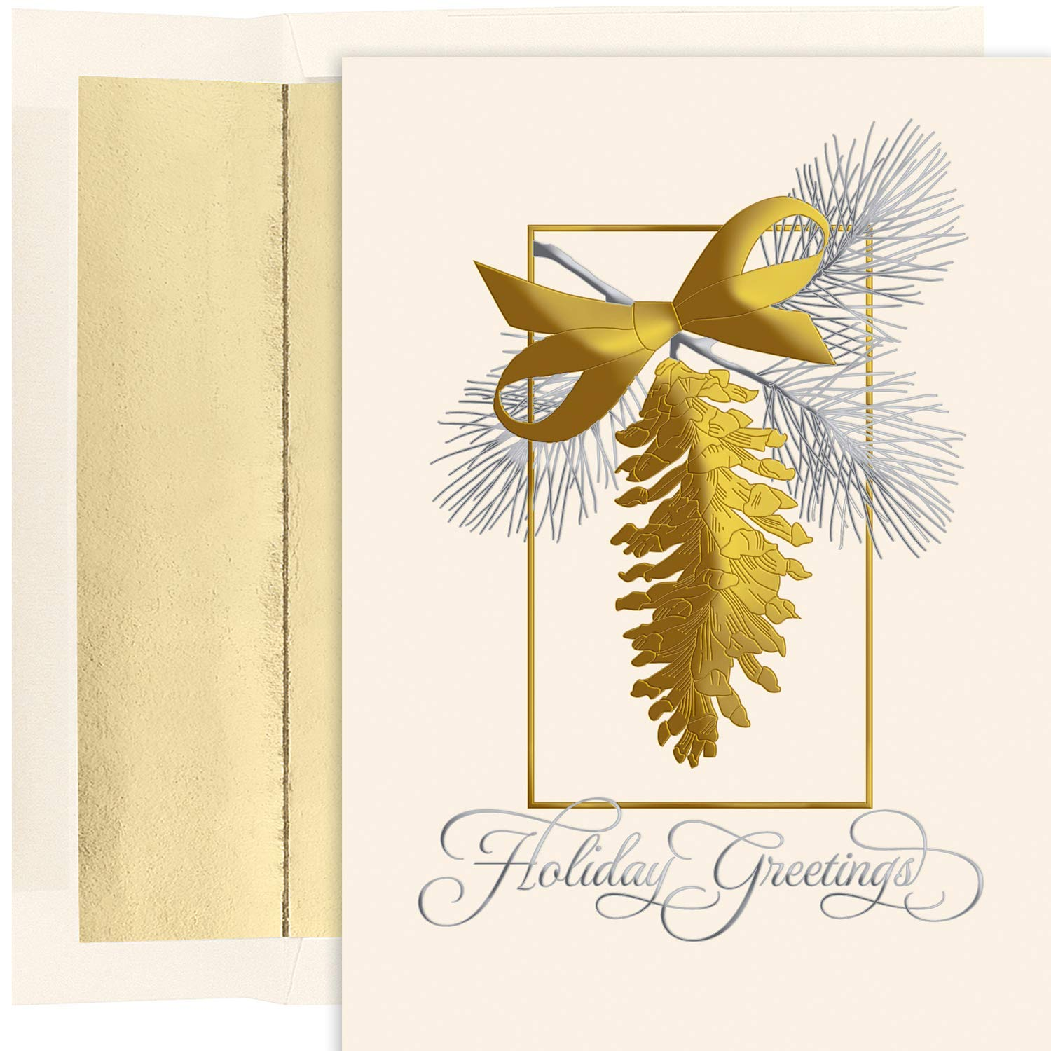 "Masterpiece Studios Gold Pinecone 16 Cards/16 Foil Lined Envelopes, 5.625 x 7.875"" (909200)"