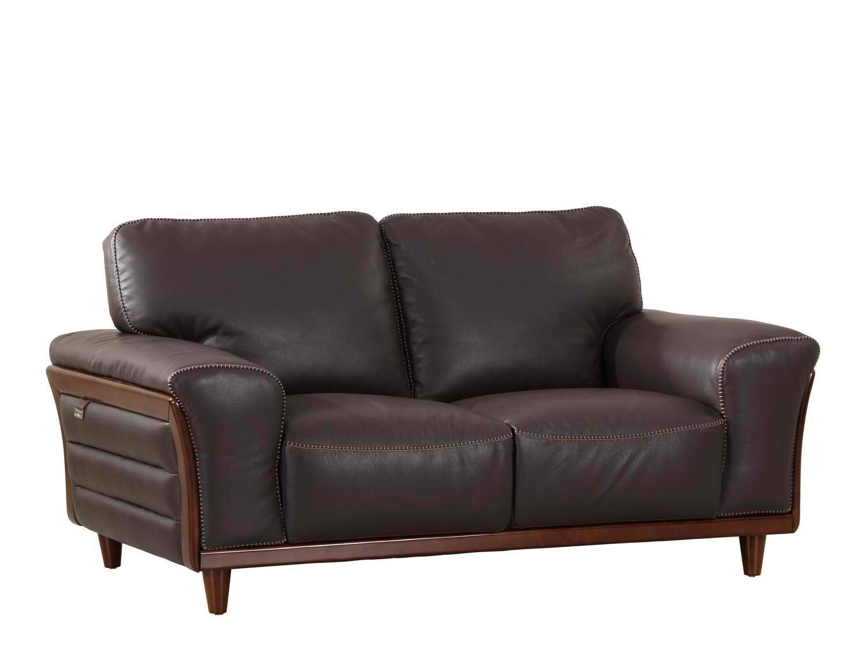 "Blackjack Furniture Montgomery Modern Italian Leather Loveseat, 66"", Brown"