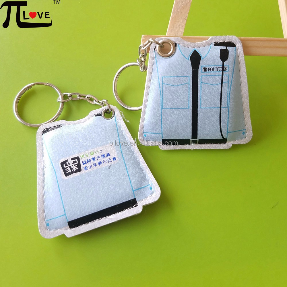 OEM hot design creative gift product t shirt shape pu leather key ring with custom design