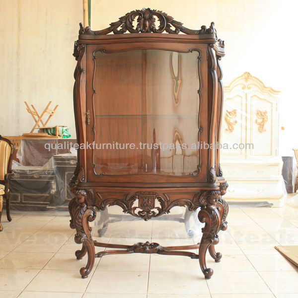 Antique Victorian Display Glass Cabinet With Natural Finish
