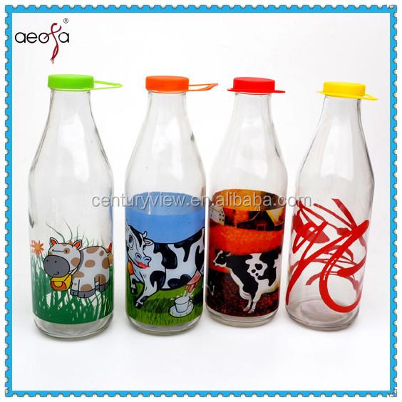 1 Liter Milk Bottle With Decal Fresh Milk Glass Bottle